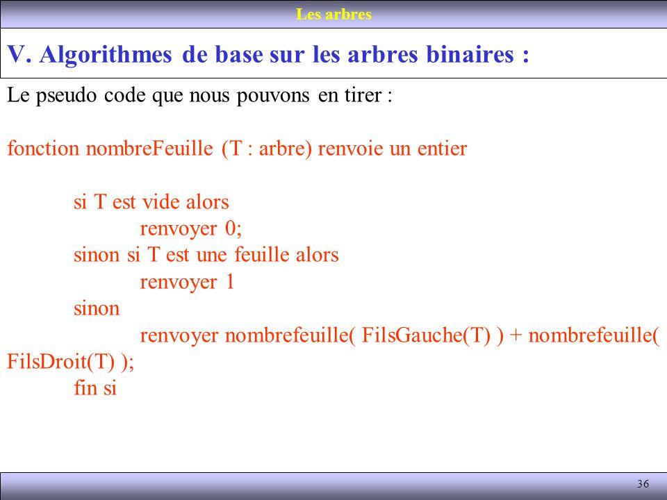 36 V. Algorithmes de base sur les arbres binaires : Les arbres Le pseudo code que nous pouvons en tirer : fonction nombreFeuille (T : arbre) renvoie u