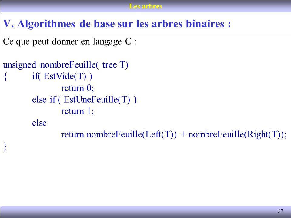 37 V. Algorithmes de base sur les arbres binaires : Les arbres Ce que peut donner en langage C : unsigned nombreFeuille( tree T) {if( EstVide(T) ) ret
