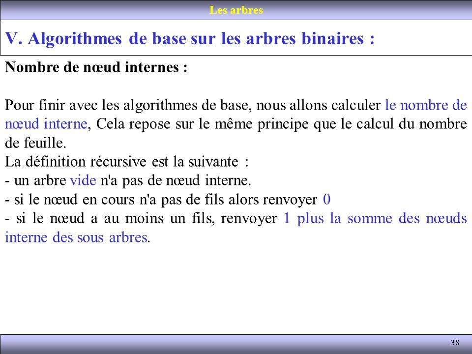 38 V. Algorithmes de base sur les arbres binaires : Les arbres Nombre de nœud internes : Pour finir avec les algorithmes de base, nous allons calculer