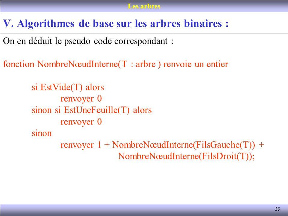 39 V. Algorithmes de base sur les arbres binaires : Les arbres On en déduit le pseudo code correspondant : fonction NombreNœudInterne(T : arbre ) renv