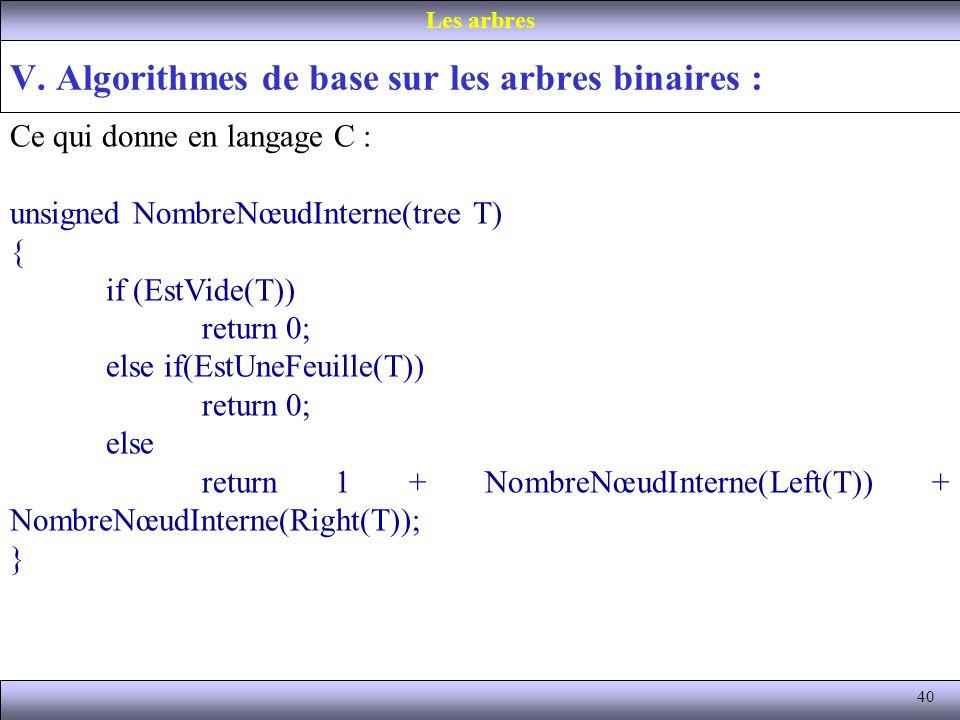 40 V. Algorithmes de base sur les arbres binaires : Les arbres Ce qui donne en langage C : unsigned NombreNœudInterne(tree T) { if (EstVide(T)) return