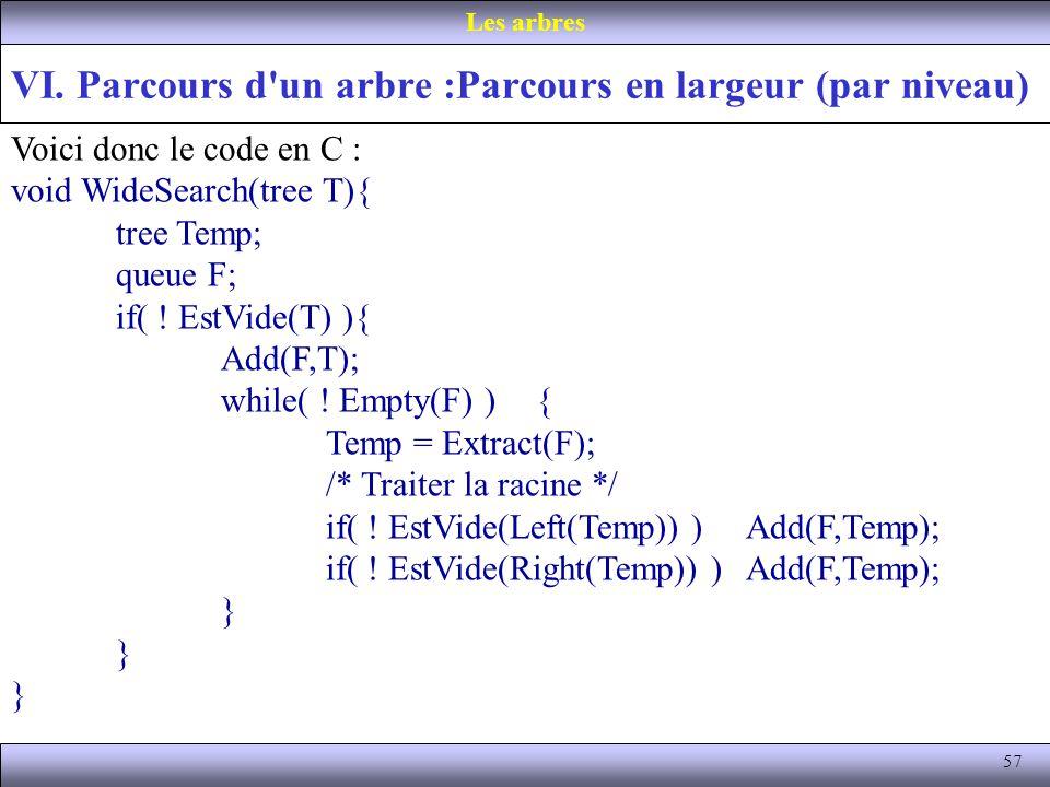 57 VI. Parcours d'un arbre :Parcours en largeur (par niveau) Les arbres Voici donc le code en C : void WideSearch(tree T){ tree Temp; queue F; if( ! E