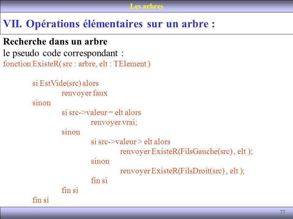 77 VII. Opérations élémentaires sur un arbre : Les arbres Recherche dans un arbre le pseudo code correspondant : fonction ExisteR( src : arbre, elt :