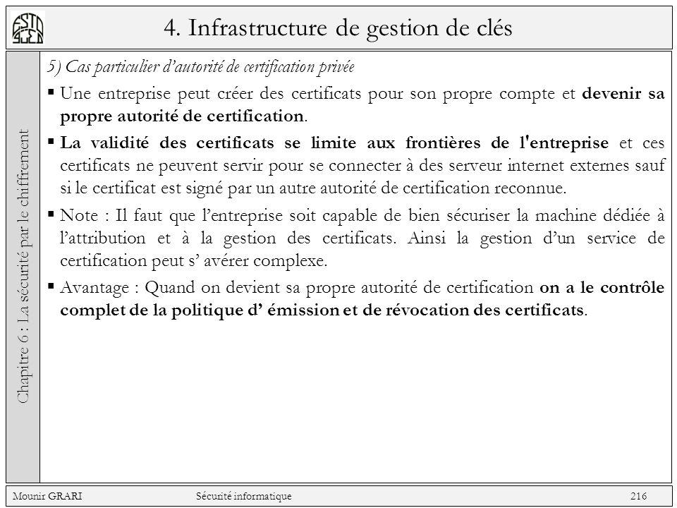 4. Infrastructure de gestion de clés 5) Cas particulier dautorité de certification privée Une entreprise peut créer des certificats pour son propre co