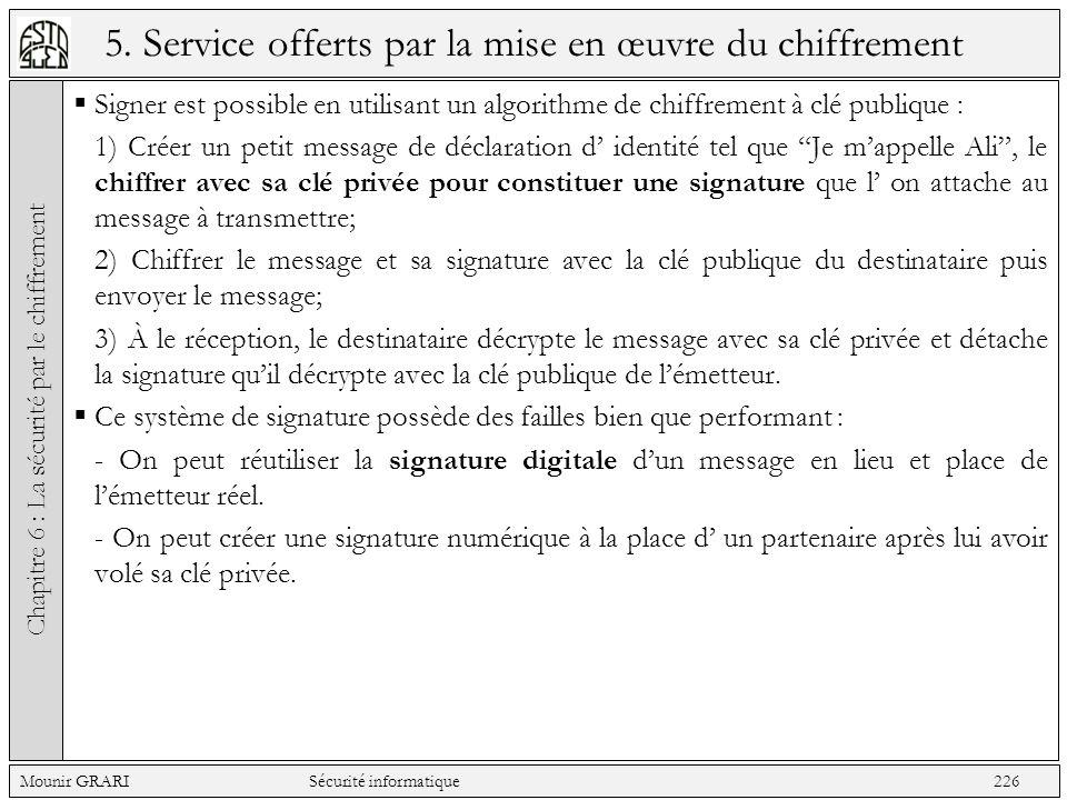 5. Service offerts par la mise en œuvre du chiffrement Signer est possible en utilisant un algorithme de chiffrement à clé publique : 1) Créer un peti
