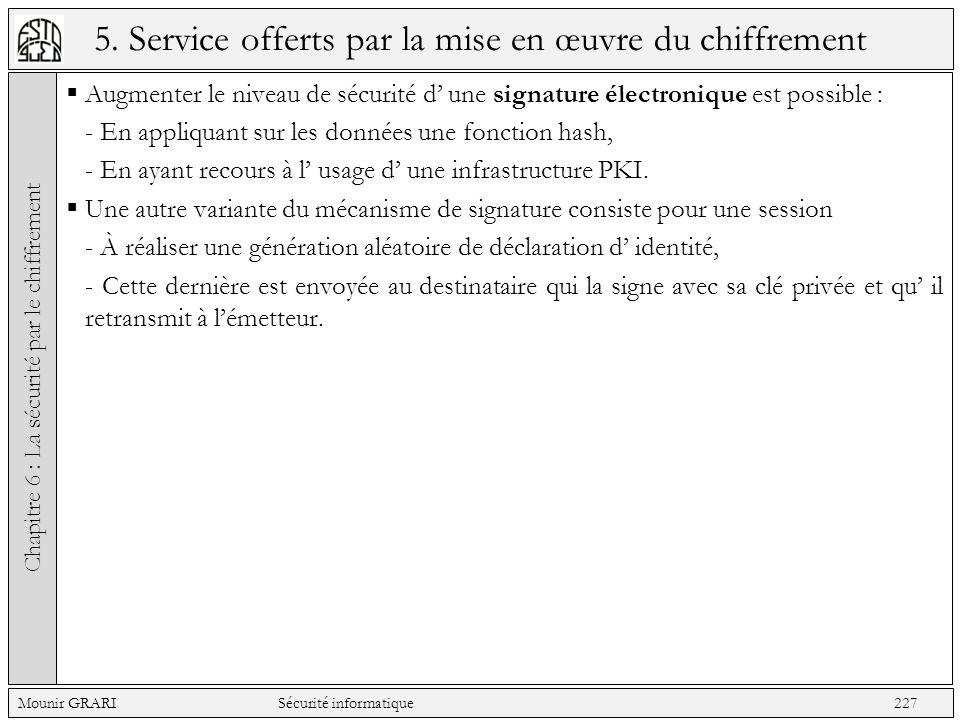 5. Service offerts par la mise en œuvre du chiffrement Augmenter le niveau de sécurité d une signature électronique est possible : - En appliquant sur