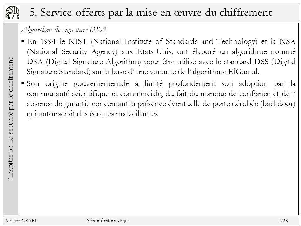 5. Service offerts par la mise en œuvre du chiffrement Algorithme de signature DSA En 1994 le NIST (National Institute of Standards and Technology) et