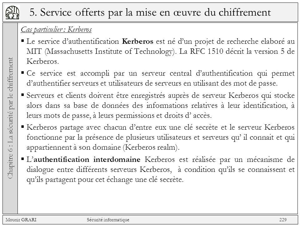 5. Service offerts par la mise en œuvre du chiffrement Cas particulier : Kerberos Le service dauthentification Kerberos est né dun projet de recherche