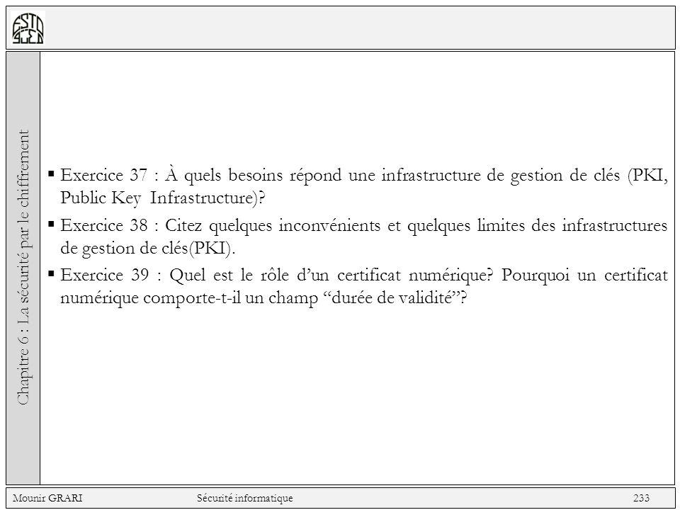 Exercice 37 : À quels besoins répond une infrastructure de gestion de clés (PKI, Public Key Infrastructure)? Exercice 38 : Citez quelques inconvénient