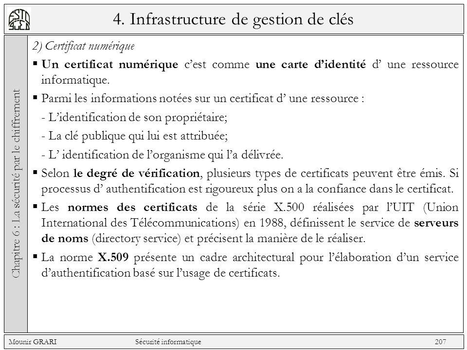 4. Infrastructure de gestion de clés 2) Certificat numérique Un certificat numérique cest comme une carte didentité d une ressource informatique. Parm