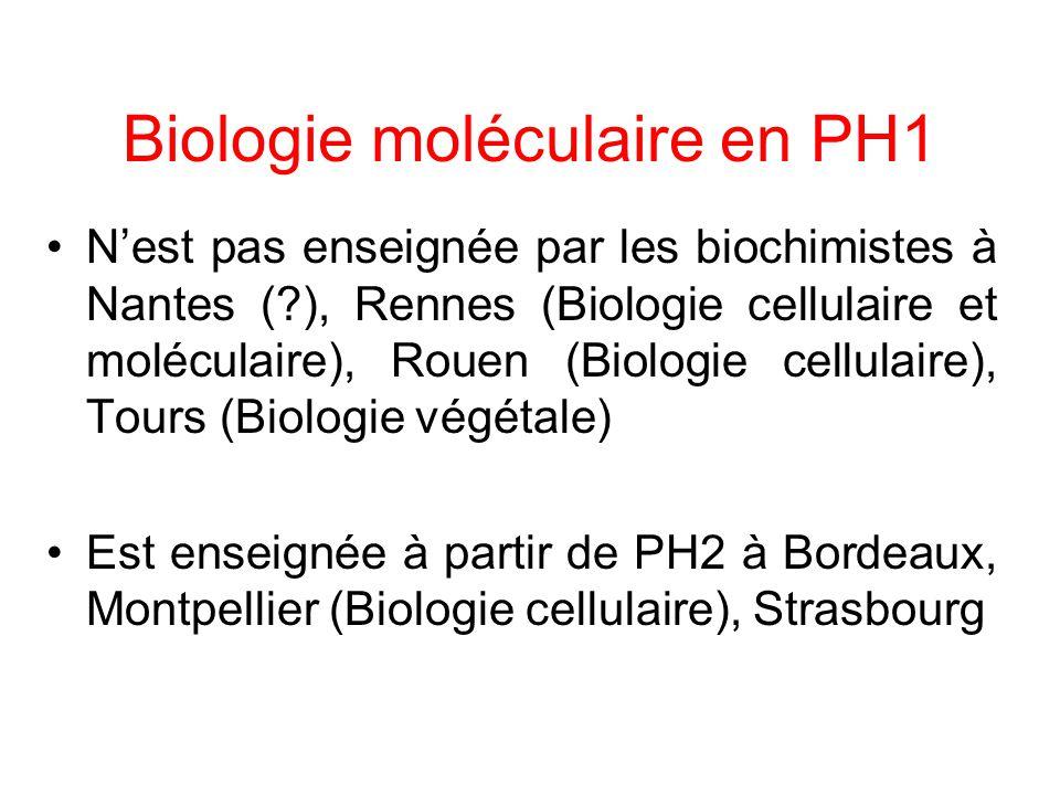 Biologie moléculaire en PH1 Nest pas enseignée par les biochimistes à Nantes (?), Rennes (Biologie cellulaire et moléculaire), Rouen (Biologie cellula