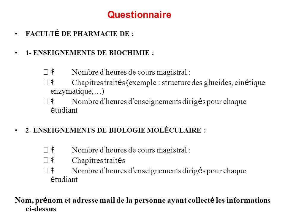 FACULT É DE PHARMACIE DE : 1- ENSEIGNEMENTS DE BIOCHIMIE : Nombre d heures de cours magistral : Chapitres trait é s (exemple : structure des glucides,