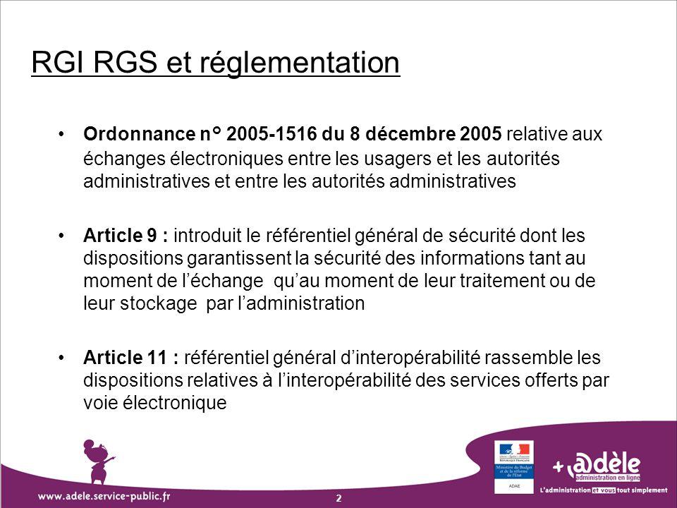 2 RGI RGS et réglementation Ordonnance n° 2005-1516 du 8 décembre 2005 relative aux échanges électroniques entre les usagers et les autorités administ