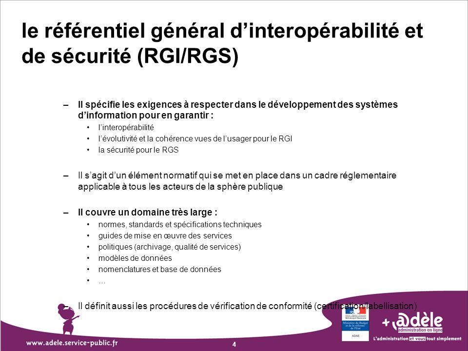 4 le référentiel général dinteropérabilité et de sécurité (RGI/RGS) –Il spécifie les exigences à respecter dans le développement des systèmes dinforma