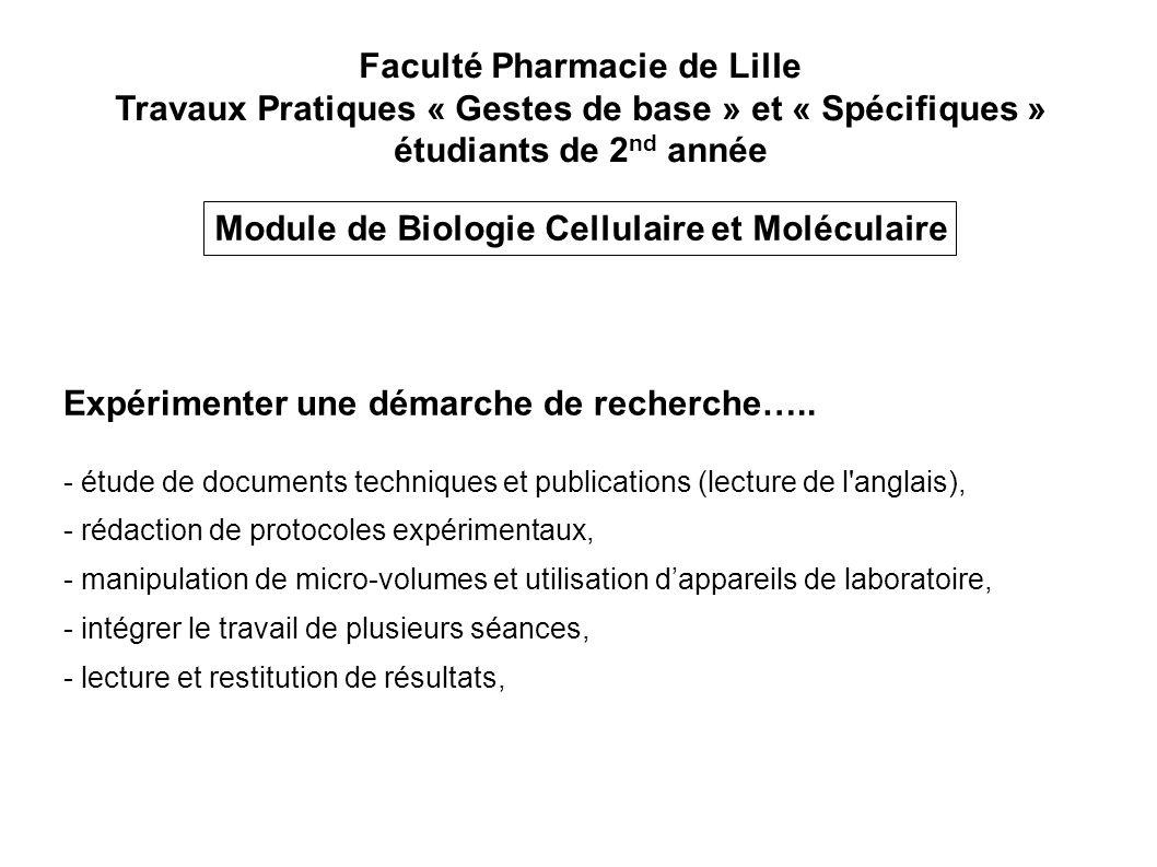 Faculté Pharmacie de Lille Travaux Pratiques « Gestes de base » et « Spécifiques » étudiants de 2 nd année Module de Biologie Cellulaire et Moléculair