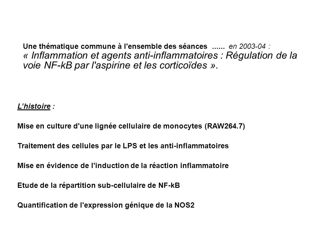 Lhistoire : Mise en culture d'une lignée cellulaire de monocytes (RAW264.7) Traitement des cellules par le LPS et les anti-inflammatoires Mise en évid