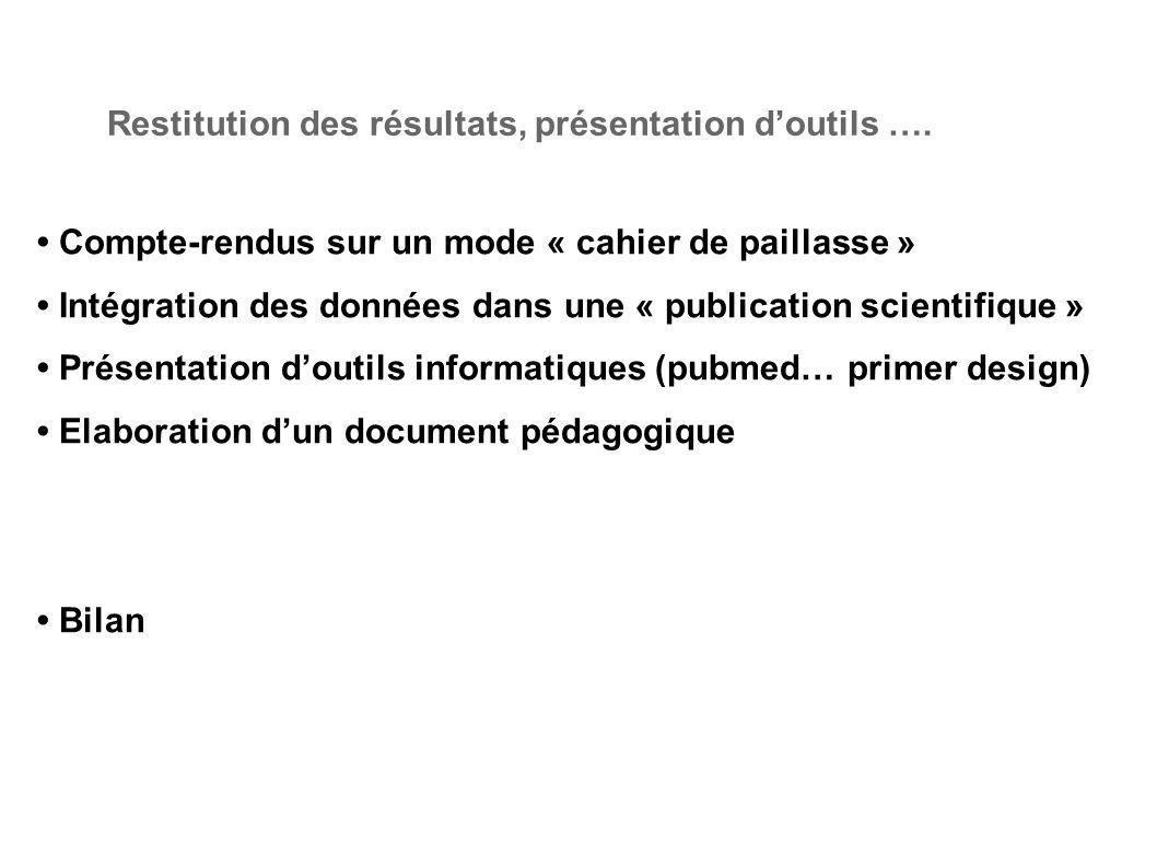 Compte-rendus sur un mode « cahier de paillasse » Intégration des données dans une « publication scientifique » Présentation doutils informatiques (pu
