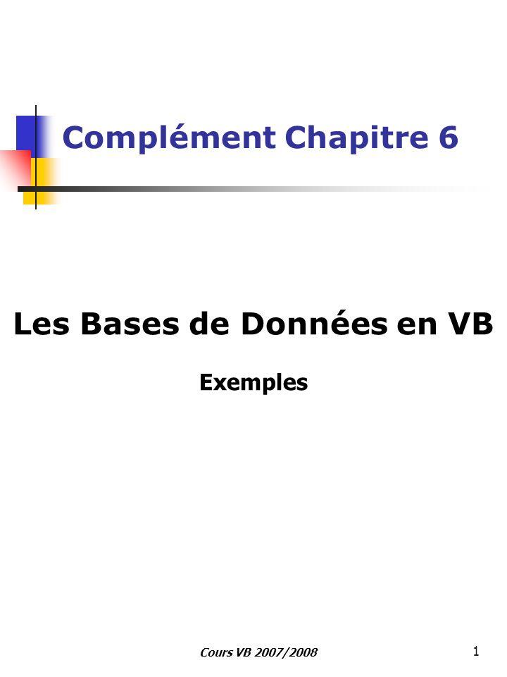 Cours VB 2007/2008 1 Complément Chapitre 6 Les Bases de Données en VB Exemples