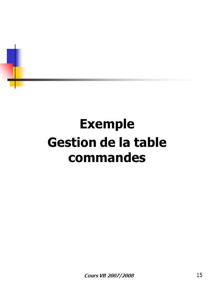 Cours VB 2007/2008 15 Exemple Gestion de la table commandes