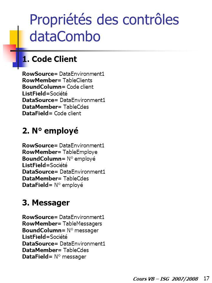 17 Cours VB – ISG 2007/2008 Propriétés des contrôles dataCombo 1.