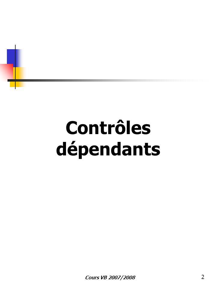 Cours VB 2007/2008 2 Contrôles dépendants