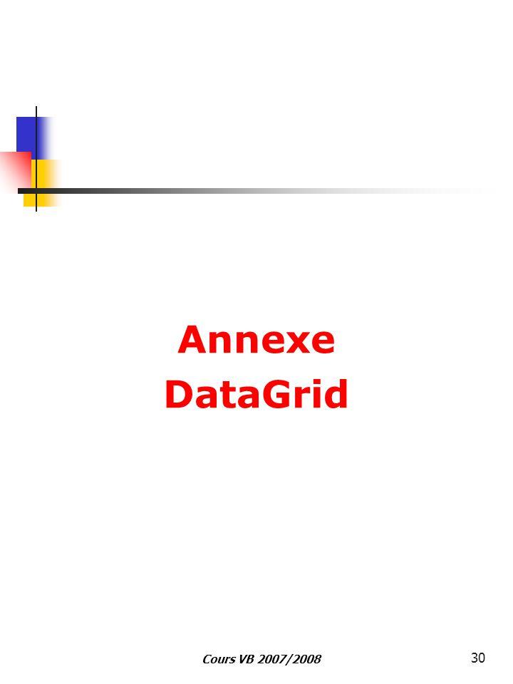 Cours VB 2007/2008 30 Annexe DataGrid