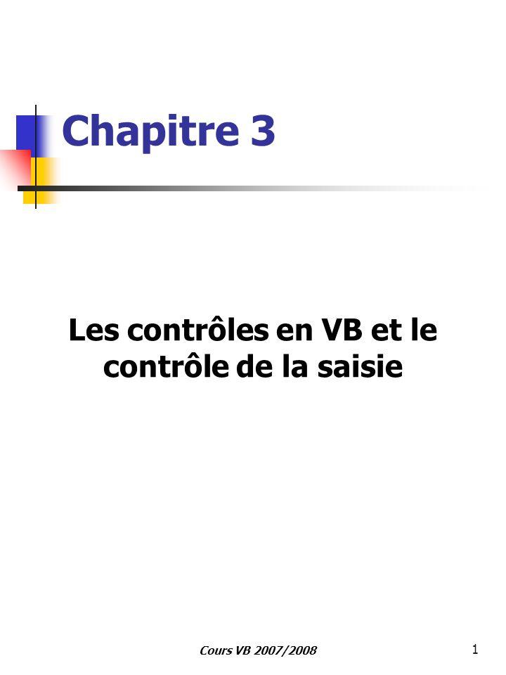 Cours VB 2007/2008 1 Chapitre 3 Les contrôles en VB et le contrôle de la saisie