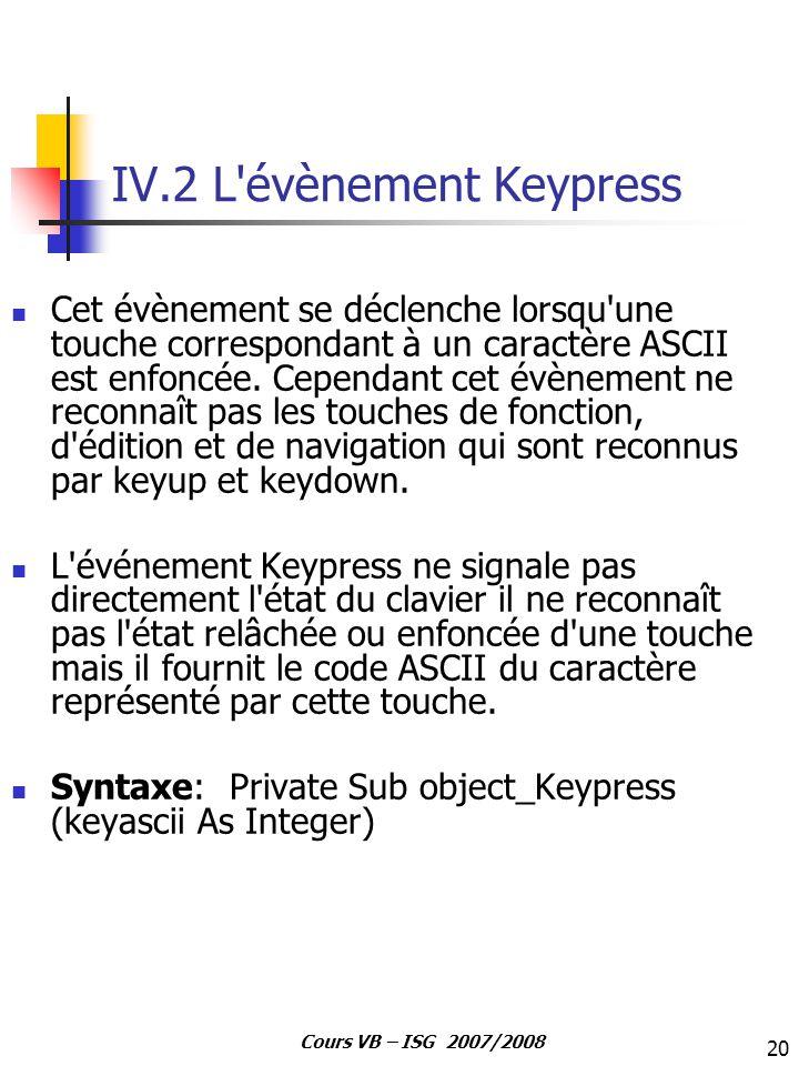 20 Cours VB – ISG 2007/2008 IV.2 L'évènement Keypress Cet évènement se déclenche lorsqu'une touche correspondant à un caractère ASCII est enfoncée. Ce