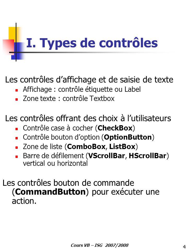 4 Cours VB – ISG 2007/2008 I. Types de contrôles Les contrôles daffichage et de saisie de texte Affichage : contrôle étiquette ou Label Zone texte : c