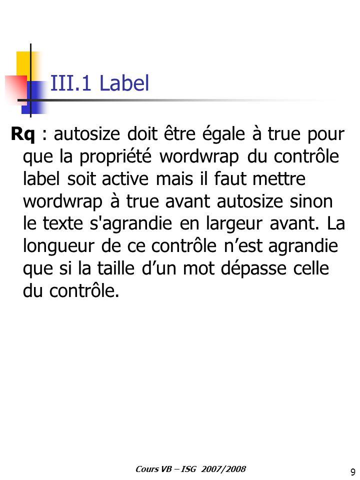 9 Cours VB – ISG 2007/2008 III.1 Label Rq : autosize doit être égale à true pour que la propriété wordwrap du contrôle label soit active mais il faut
