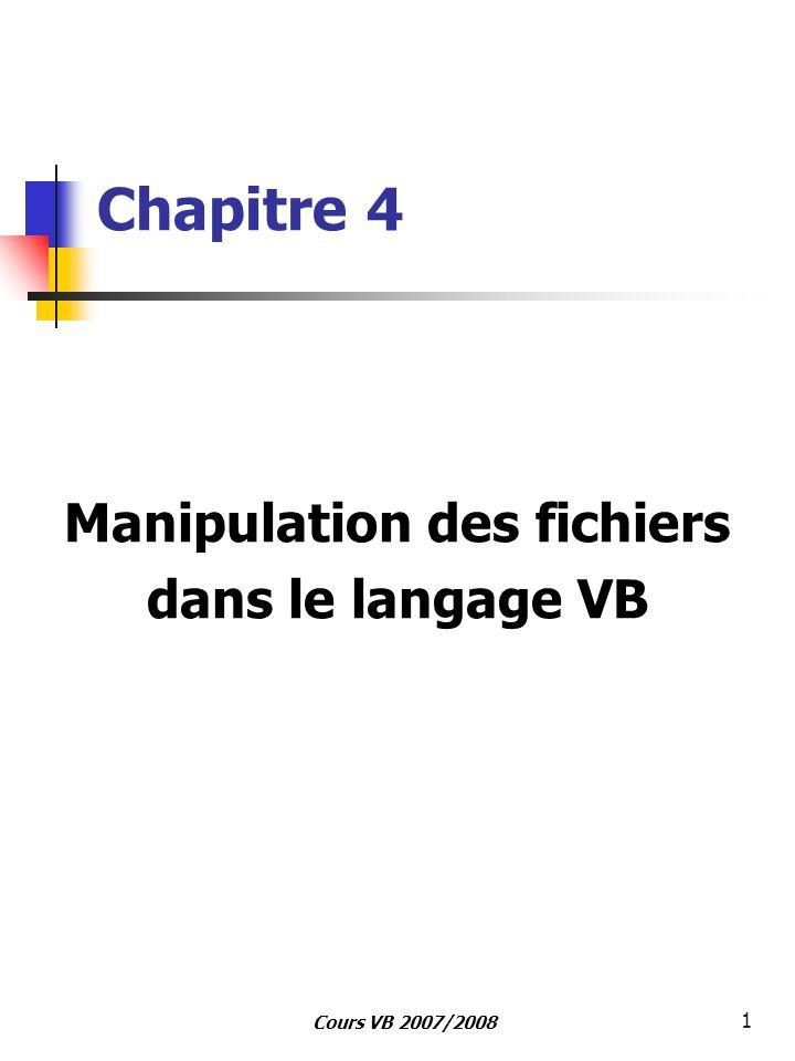 12 Cours VB – ISG 2007/2008 Private Sub CMDLireLigne_Click() Dim L As String txtFile.Text = Détermine un numéro de fichier valide num = FreeFile Ouverture du fichier Fich_1.txt sous e: en lecture Open e:\Fich_1.txt For Input As #num Affectation de tout le contenu du fichier dans la propriété Text du contrôle Txtfile Do While Not EOF(num) Line Input #num, L Txtfile.Text = Txtfile.Text &chr(13)&chr(10)& L Loop Close #1 Fermeture du fichier End Sub L événement Click sur le bouton de commande nommé CMDLireLigne de la feuille exécutera le code suivant: Exemple 1: Lecture d un fichier séquentiel