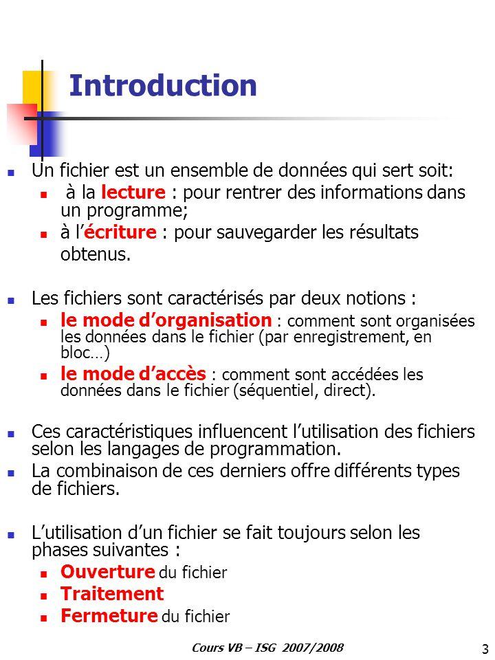 3 Cours VB – ISG 2007/2008 Introduction Un fichier est un ensemble de données qui sert soit: à la lecture : pour rentrer des informations dans un prog