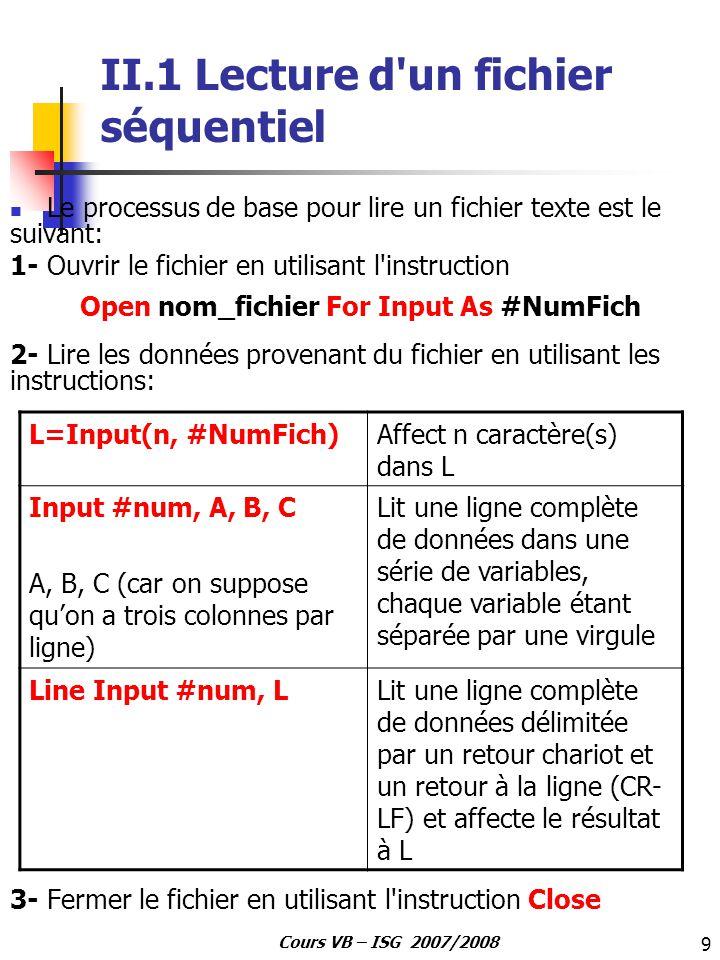 20 Cours VB – ISG 2007/2008 Exemple 3: fichiers directs en mode Random Private Type ADR Définition d un type personnalisé Nom As String * 30 Ville As String * 20 End Type Sub MAIN() Dim Enr As ADR Ouverture du fichier en accès direct Open C:\Gestion.TXT For Random As 1 Len = Len(Enr) Ecriture dans le fichier de 2 enregistrements Enr.Nom = Mohamed Enr.Ville = Tunis Put 1, 1, Enr Ecriture du 1ier enregistrement Enr.Nom = Sarra Enr.Ville = Bizerte Put 1, 2, Enr Ecriture du 2ème enregistrement Get 1, 1, Enr lecture du 1ier enregistrement MsgBox Enr.Nom & & Enr.Ville Visualisation des champs Get 1, 2, Enr lecture du 2ième enregistrement MsgBox Enr.Nom & & Enr.Ville Visualisation des champs Close 1 End Sub