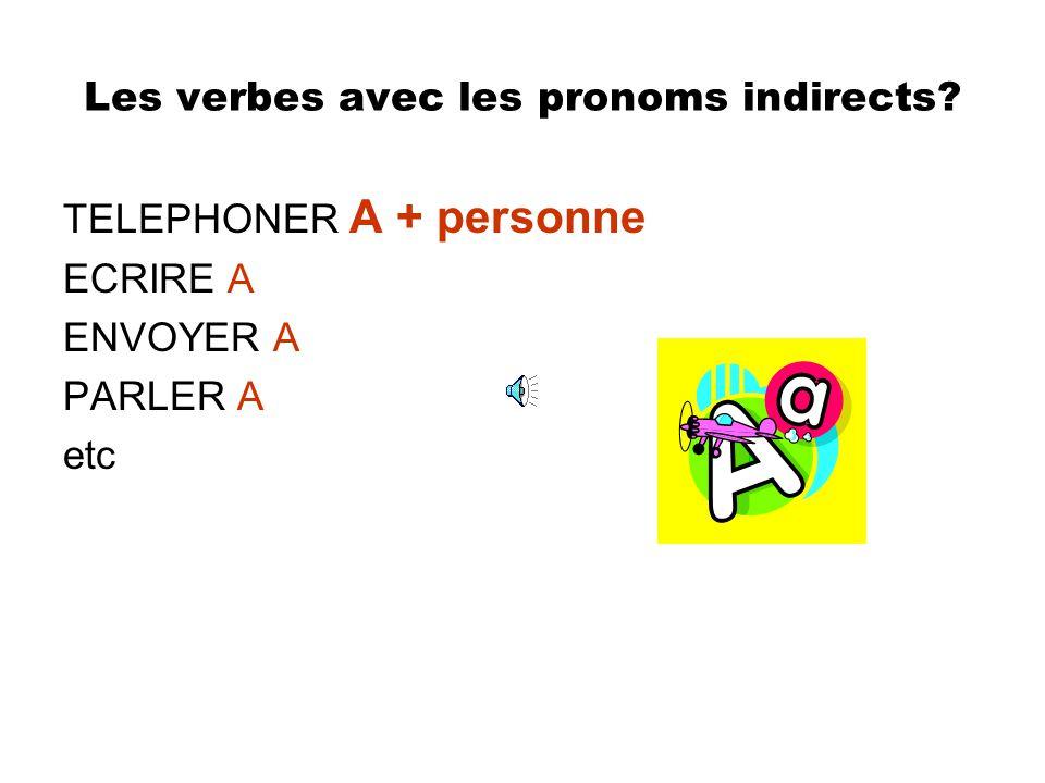 refreshers Pronoms indirects? 1.Me/m 2.Te/t 3.Lui 4.Nous 5.Vous 6.leur