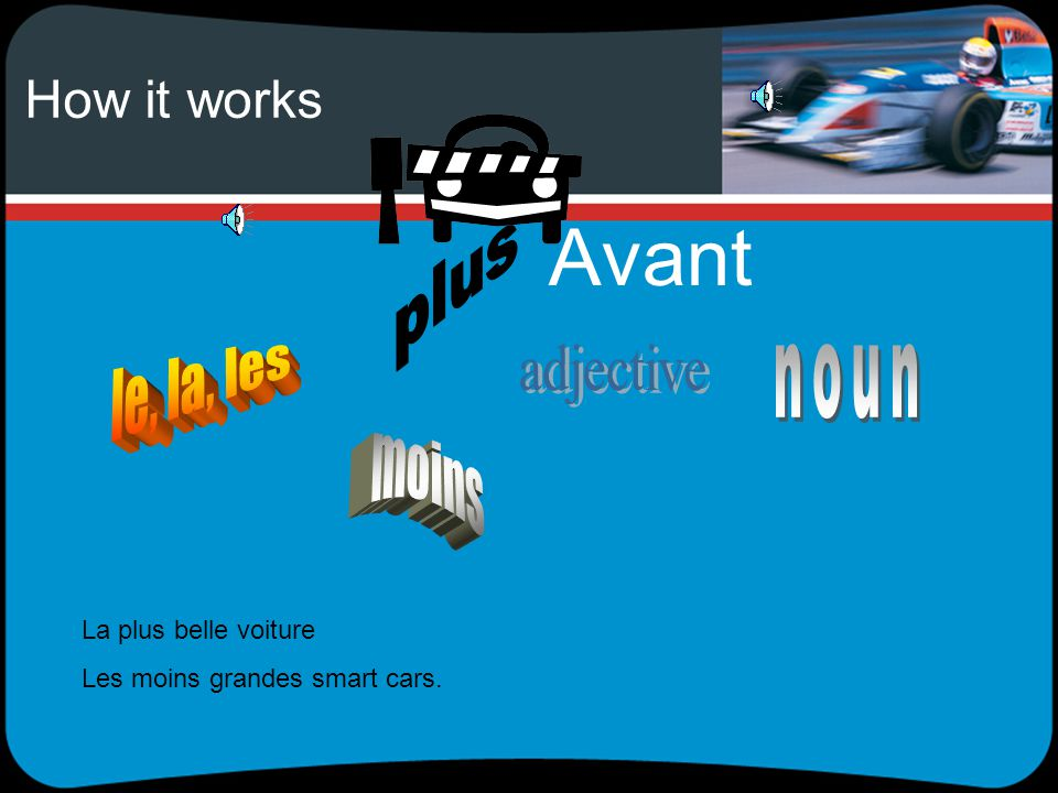 How it works adjectives come either before or after the noun after Cest la voiture la plus rapide du monde Cest le voyage le plus cher que nous ayons