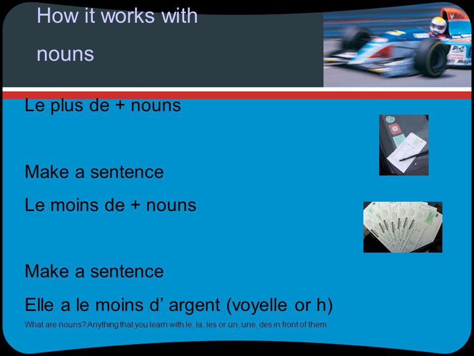 How it works with nouns Le plus de + nouns Make a sentence Le moins de + nouns Make a sentence Elle a le moins d argent (voyelle or h) What are nouns.