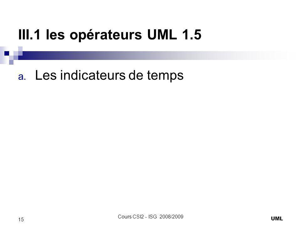 III.1 les opérateurs UML 1.5 a. Les indicateurs de temps UML 15 Cours CSI2 - ISG 2008/2009