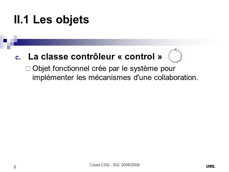 II.1 Les objets c. La classe contrôleur « control » Objet fonctionnel crée par le système pour implémenter les mécanismes d'une collaboration. UML 8 C
