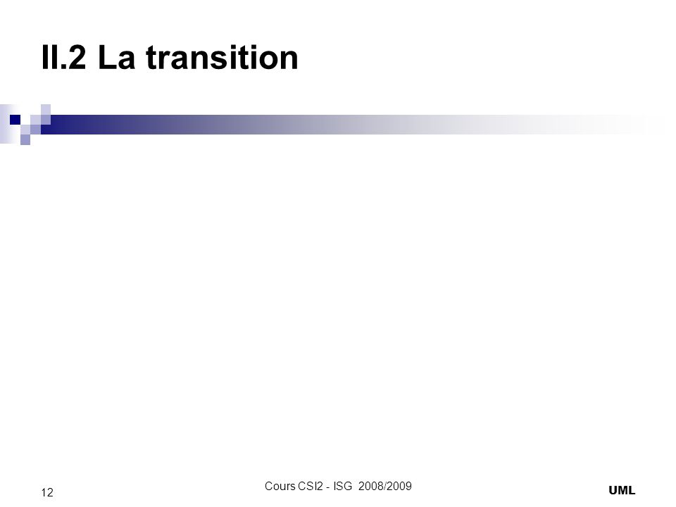 II.2 La transition UML 12 Cours CSI2 - ISG 2008/2009
