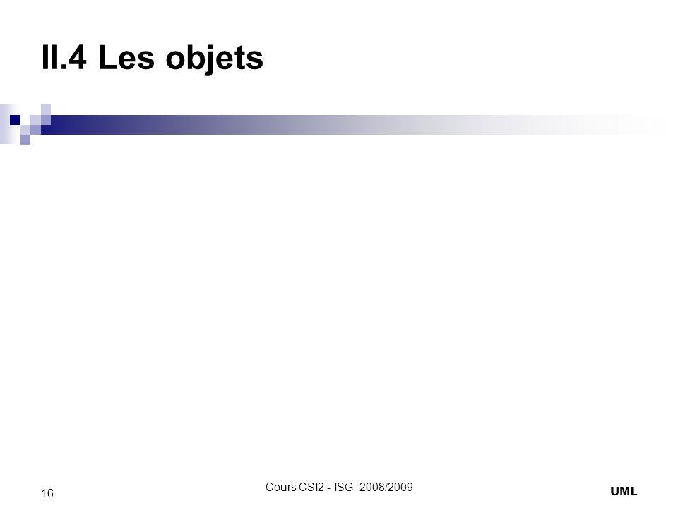 II.4 Les objets UML 16 Cours CSI2 - ISG 2008/2009