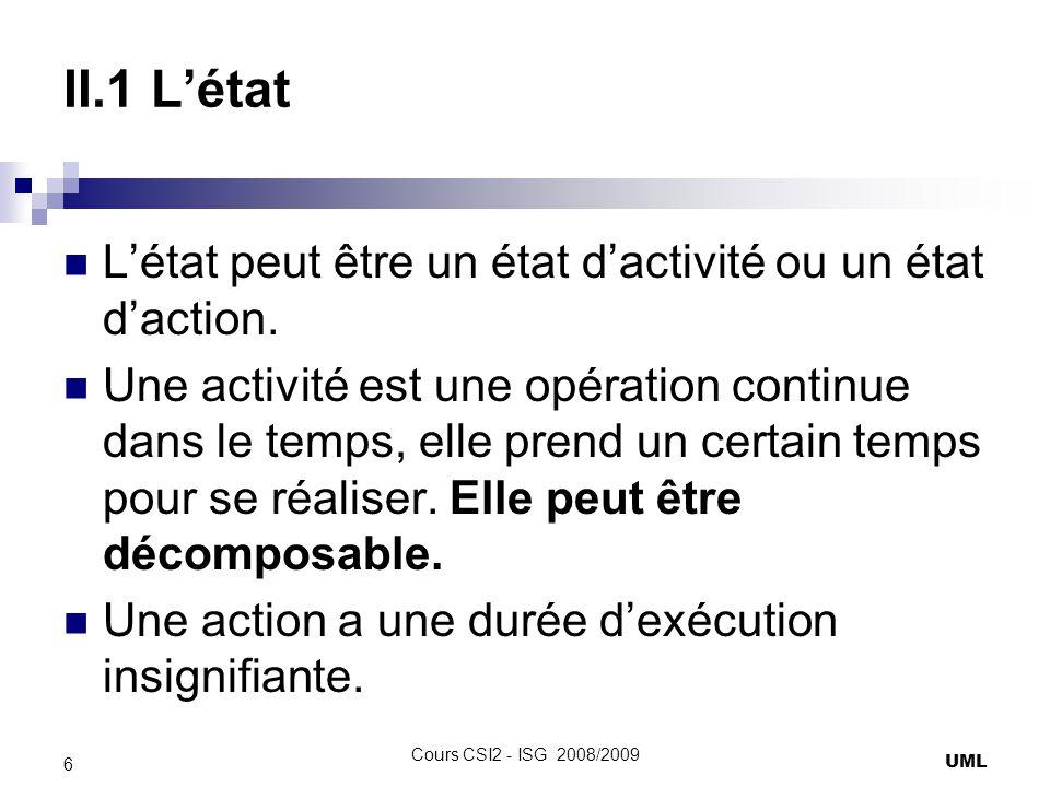 II.1 Létat Activité : nomActivité() Action: nomAction Le diagramme peut avoir un ou plusieurs état initiaux et zéro ou plusieurs états finaux.