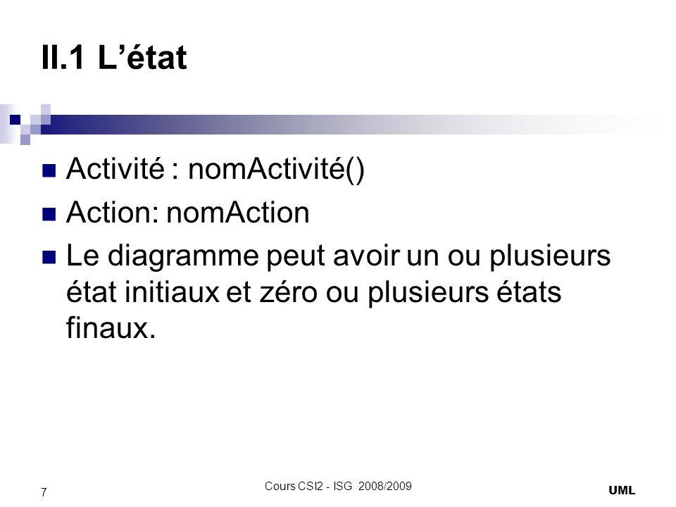 II.1 Létat Activité : nomActivité() Action: nomAction Le diagramme peut avoir un ou plusieurs état initiaux et zéro ou plusieurs états finaux. UML 7 C