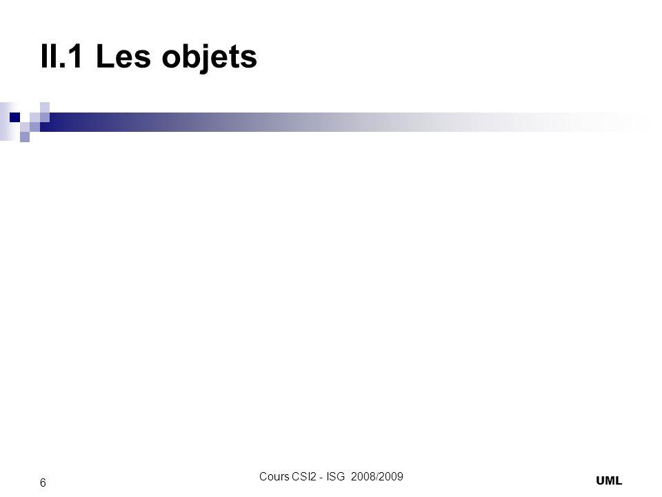II.1 Les objets Il faut préciser létat de lobjet lorsquil existe plusieurs fois dans le diagramme et ajouter une dépendance stéréotypé > UML 7 Cours CSI2 - ISG 2008/2009