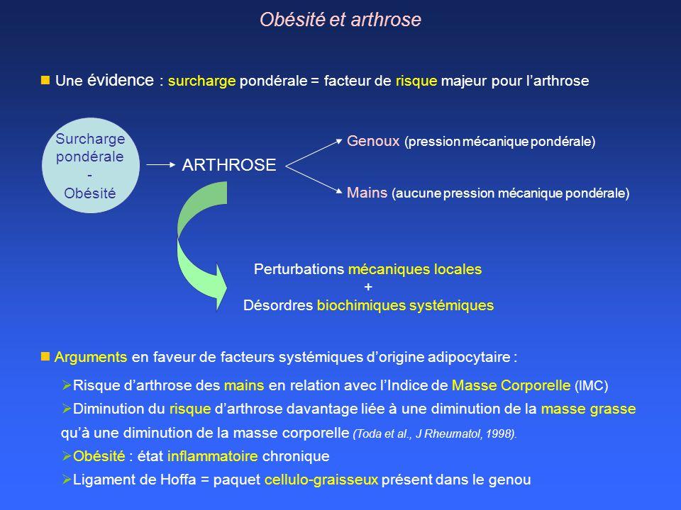 Mains (aucune pression mécanique pondérale) Une évidence : surcharge pondérale = facteur de risque majeur pour larthrose Surcharge pondérale - Obésité