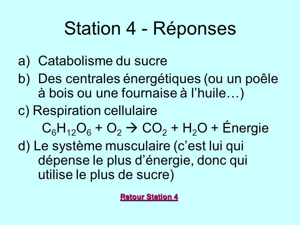 Station 4 - Réponses a)Catabolisme du sucre b)Des centrales énergétiques (ou un poêle à bois ou une fournaise à lhuile…) c) Respiration cellulaire C 6