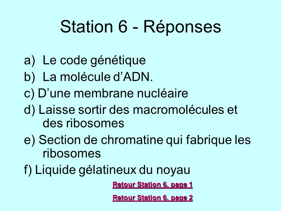Station 6 - Réponses a)Le code génétique b)La molécule dADN. c) Dune membrane nucléaire d) Laisse sortir des macromolécules et des ribosomes e) Sectio