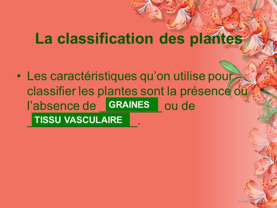 La classification des plantes Les caractéristiques quon utilise pour classifier les plantes sont la présence ou labsence de _________ ou de __________