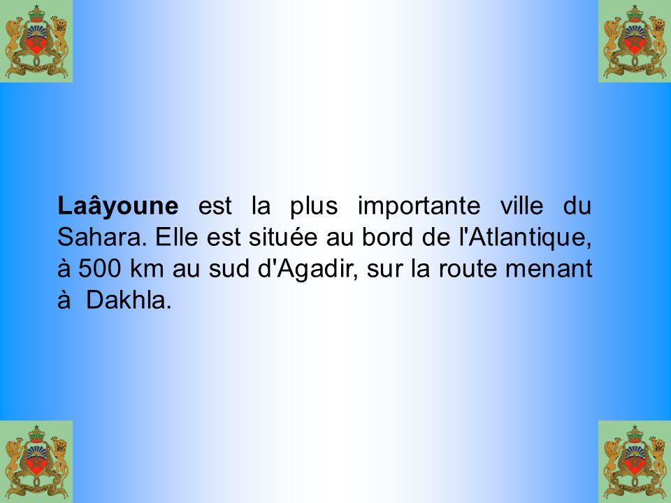 Laâyoune est la plus importante ville du Sahara. Elle est située au bord de l'Atlantique, à 500 km au sud d'Agadir, sur la route menant à Dakhla.