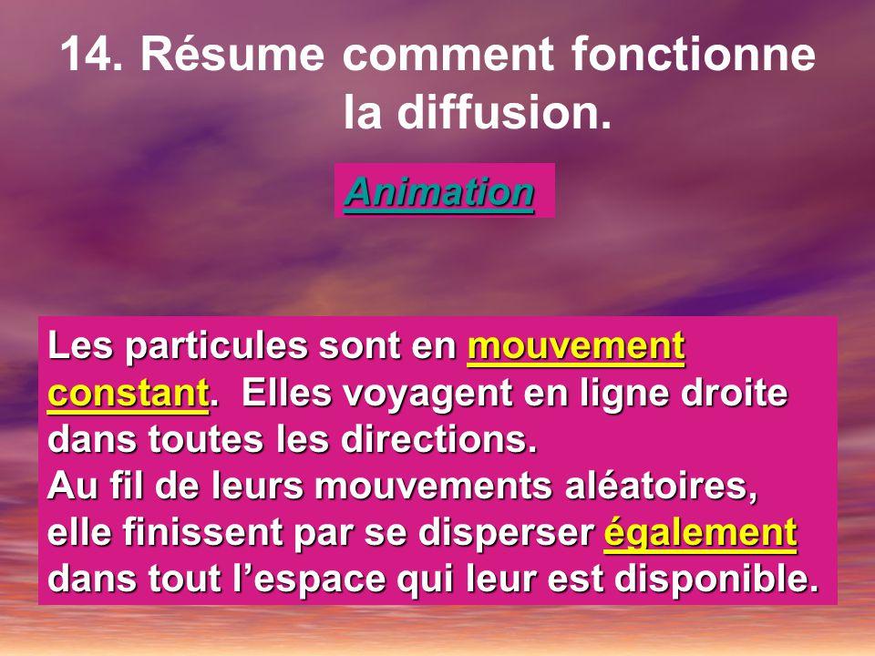 14. Résume comment fonctionne la diffusion. Animation Les particules sont en mouvement constant. Elles voyagent en ligne droite dans toutes les direct