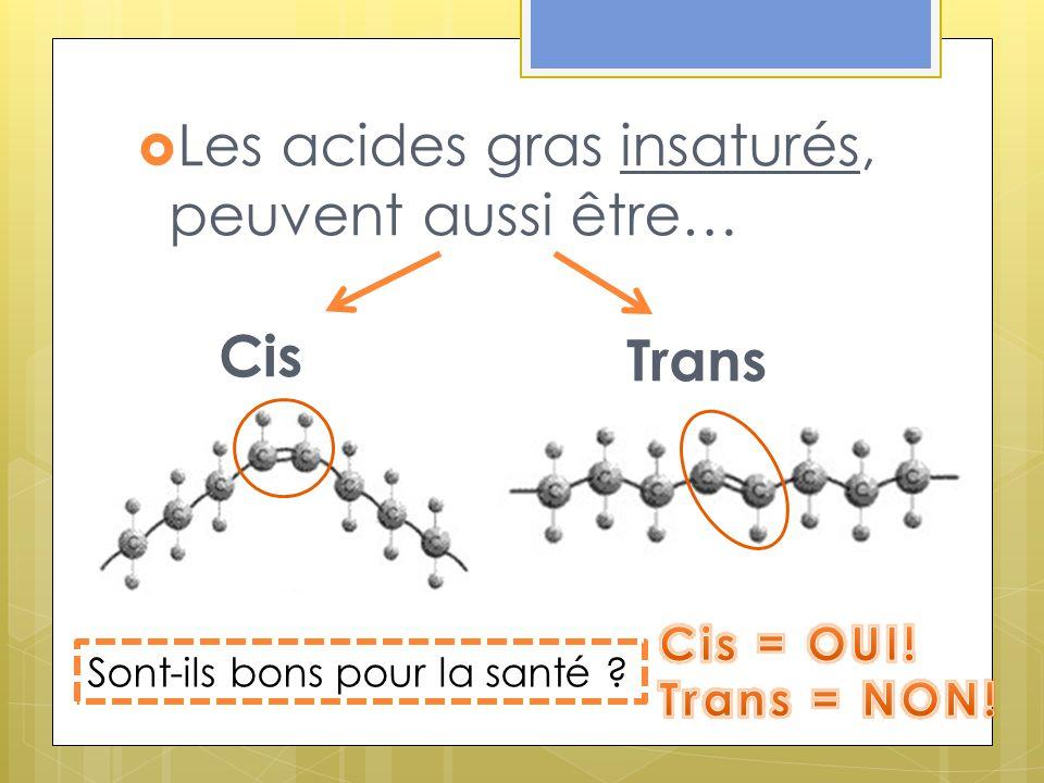 Les acides gras insaturés, peuvent aussi être… Cis Trans Sont-ils bons pour la santé ?